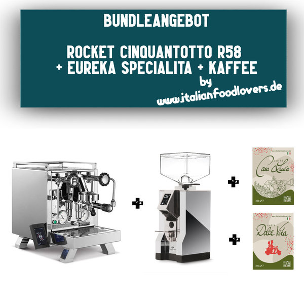 Bundle Set Rocket Espresso R CINQUANTOTTO R58 + Eureka Specialita Chrom 16CR + Kaffee